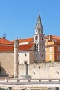 Venice lion and steeple on top of the column church in zadar croatia Royalty Free Stock Photos