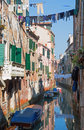 Venice look form bridge ponte dei scudi bridge to canal Royalty Free Stock Images