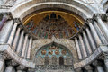 Venice mosaic at the entrance of the basilica detail a byzantine placed over one entrances st mark Stock Photo