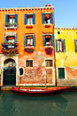 Venice narrow canal with boat in italy Stock Photography