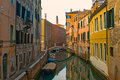 Venice reflections and surreal atmosphere of the canals of Stock Image