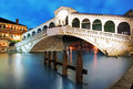 Venice - Rialto bridge at dusk, Italy Royalty Free Stock Photo