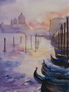 Venice's sunset original watercolor Royalty Free Stock Photo