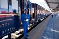 The venice simplon orient express conductor conductors of ready for departure innsbruck austria april legendary Royalty Free Stock Image