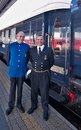The venice simplon orient express conductors of ready for departure innsbruck austria april legendary Royalty Free Stock Images