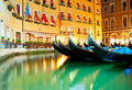 Venice street gandolas at the canals of italy Royalty Free Stock Images