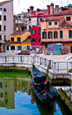 Venice street of in italy with bright colored buildings Stock Photography
