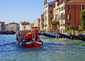 Venice traffic on grand canal italy november merchandise in at working days small and convenient cargo boats transport Royalty Free Stock Image