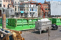 Venice transport barge with crane for in italy Royalty Free Stock Images