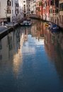 Venice venetian landmark the water mirror of the canals italy north city on walk along bright great reflection on Royalty Free Stock Photo