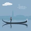 Venice, Venezia skyscrape view with gondolier vector illustration