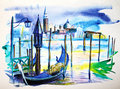 Venice a view with boat in painted by watercolor Royalty Free Stock Images
