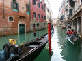 Venice a view of gondolas on the town canal small Stock Images