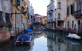 Venice waterway a tranquil canal on in italy photo taken o a february Stock Photos