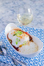 Venison chili loco moco with rice and a poached egg Royalty Free Stock Images
