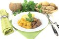 Venison goulash with potatoes turnip and on a light background Royalty Free Stock Photo