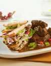 Venison with potato pancakes and vegetable Royalty Free Stock Photography