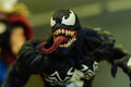 Venom figurine realistic of comic character on a sophisticated toy and collection shop Royalty Free Stock Photography