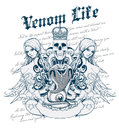 Venom life vector illustration ideal for printing on apparel clothes Royalty Free Stock Images
