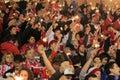 Ventilateurs de Slavia Prague avec des sparklers Images libres de droits