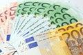 Ventilatore fatto di euro valuta di carta Fotografie Stock Libere da Diritti