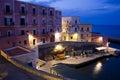 Ventotene at night old roman harbor in Stock Image