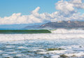 Ventura harbor surf large and waves breaking along the county california coastline just south of Stock Image