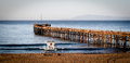 Ventura pier the with santa cruz island in the background Royalty Free Stock Image