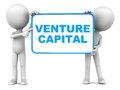 Venture capital words on a board held up by little d men against white background Royalty Free Stock Image