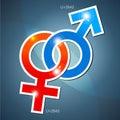 Venus och mars symboler Arkivfoto