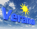 Verano holidays text in spanish sun and blue sky Stock Images