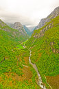 Verdant Mountain Valley in Norway Stock Photos