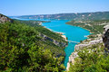 Verdon gorge river flows into the artificial lake of sainte croix du france Stock Photo