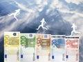 Verhoging van Euro geldwaarde Stock Foto