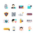 Verification secure methods flat icons set Royalty Free Stock Photo