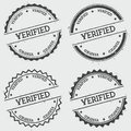 Verified insignia stamp isolated on white.