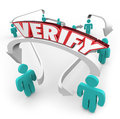 Verify d word on connected arrows between people in red letters an arrow in a network Royalty Free Stock Images