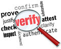 Verify word magnifying glass certify prove check inspect under and related terms like justify confirm attest clarify authenticate Royalty Free Stock Images