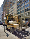 Vermeer CC155 Concrete Cutter Parked on a New York City Street, USA Royalty Free Stock Photo