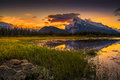 Vermilion lakes sunrise near banff golden early fall over the canadian rockies and vermillion on the outskirts of canada Stock Images