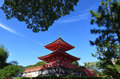 Vermilion pagoda of Daikakuji temple, Kyoto Japan Royalty Free Stock Photo