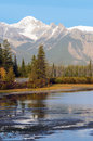 Vermillion lakes in banff front of mount norquay national park alberta canada Royalty Free Stock Image