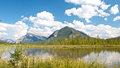Vermillion lakes behind grass view on beautiful near banff alberta canada with the canadian rocky mountains in the background Royalty Free Stock Photography