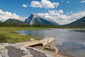 Vermillion lakes and dock view on beautiful near banff alberta canada with the canadian rocky mountains in the background Stock Photo