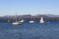 Vermont sailboats landscape in during the fall showing the changing foliage and lake Royalty Free Stock Photo