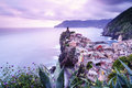 Vernazza village in Cinque Terre, Italy at sunset Royalty Free Stock Photo
