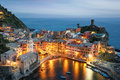 Vernazza village in italy view of the at dusk it s located cinque terre Stock Photography
