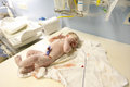 Vernix covered newborn in delivery room Royalty Free Stock Photo