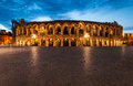 Verona amphitheatre completed in ad the third largest in the world at dusk time roman arena in verona italy Royalty Free Stock Images