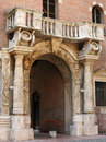 Verona arch and pillars or columns on building in italy Royalty Free Stock Photo